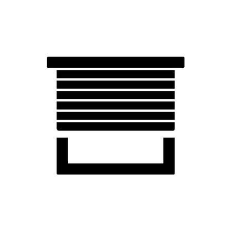 Black and white vector illustration of horizontal blind. Flat icon of sun protection shade. Window jalousie, shutters. Isolated object on white background