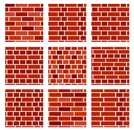 Red brick wall background. Set of seamless vector patterns. Different types of bricklayers & masonry. Stretcher, running & english bond.
