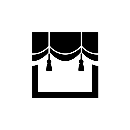 Vector illustration of scalloped valance with tassels. Flat icon of window pelmet. Isolated object on white background 向量圖像