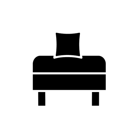 vector illustration of sleeper convertible chair. Flat icon of chair bed with pillow. Isolated object on white background Illustration