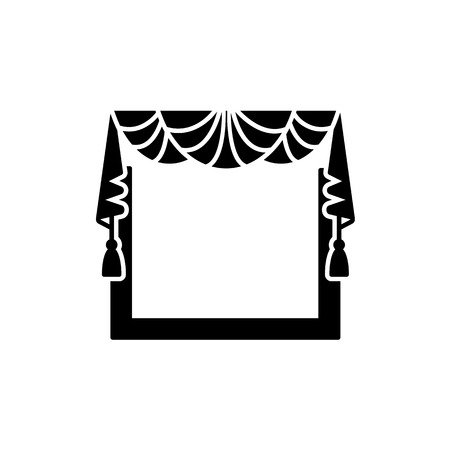 Vector illustration of fabric valance with drapery. Flat icon of window pelmet with fans and tassels. Isolated object on white background 向量圖像