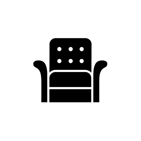 vector illustration of leather armchair with high back. Flat icon of arm chair seat. Illustration