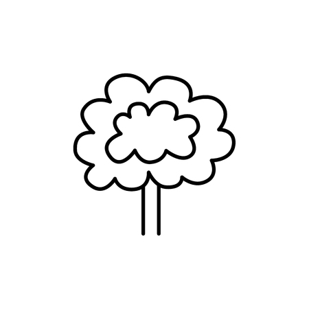 Black & white vector illustration of decorative tree for backyard or front yard. Line icon of garden plant with ornamental leaves. Growing orchard. Isolated object on white background