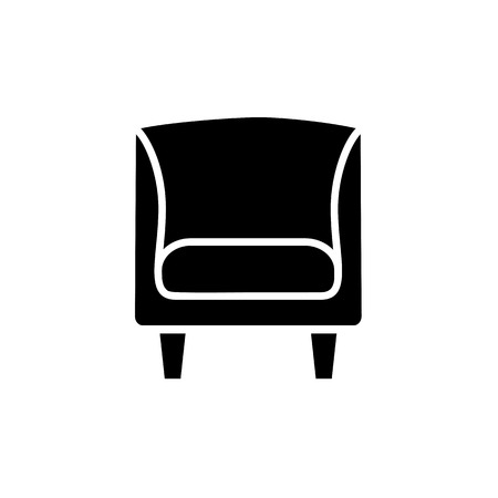 Black and white vector illustration of vintage wooden armchair with high back. Flat icon of arm chair seat. Upholstery furniture. Isolated object on white background Vector Illustration