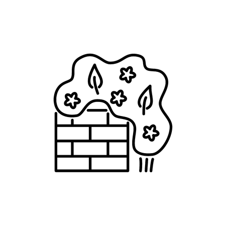 Black & white vector illustration of climbing plant with wall. Line icon of green foliage shrub & bush with leaves, flowers. Gardening & landscaping. Isolated object on white background