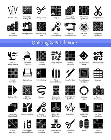 Suministros de acolchado y patchwork. Herramientas para coser edredones de cuadrados y bloques de tela. Patrones para quilters. Conjunto de iconos planos vectoriales. Objetos aislados sobre fondo blanco