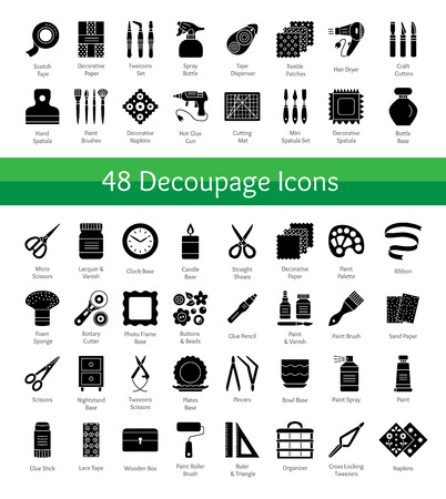 Decoupage tools. Bricolage & handicraft supplies. Vector flat icons set. Decorating boxes with paper napkins and glue. Handmade hobby. Isolated objects on white background Illustration