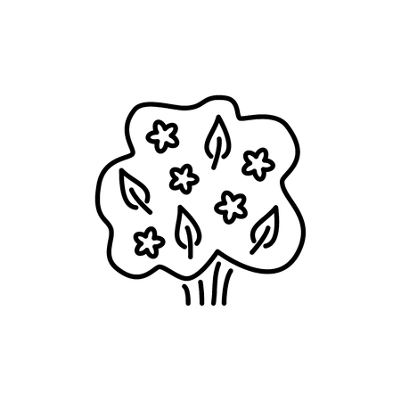 Black & white vector illustration of deciduous plant. Line icon of green foliage shrub & bush with leaves, flowers. Gardening & landscaping. Isolated object on white background  イラスト・ベクター素材