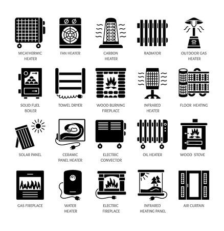 Vector platte pictogrammenset met radiator, convector en open haard. Verwarmingsapparatuur voor thuis. Verschillende gas-, olie- en elektrische kachels. Zonnepaneel. Houtkachel. Geïsoleerde objecten op witte achtergrond Vector Illustratie