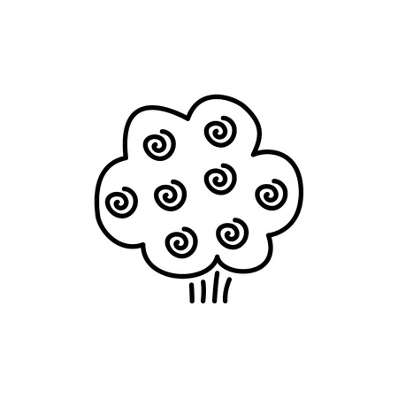 Black & white vector illustration of blooming rose shrub. Line icon of blooming bush with flowers. Gardening & landscaping. Isolated object on white background Illustration