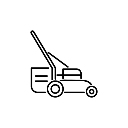 Black & white vector illustration of lawn mower. Line icon of grass cutter machine. Gardening & landscaping tool. Isolated object on white background.