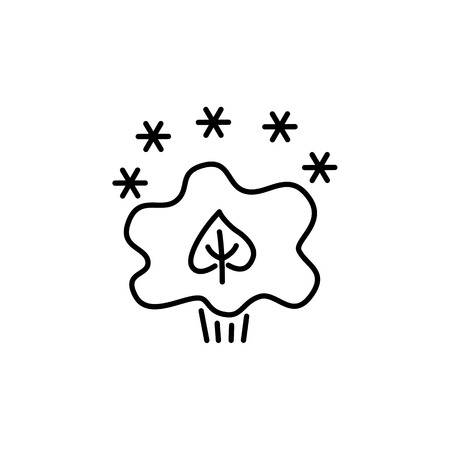 Black & white vector illustration of evergreen plant with snowflakes. Line icon of green foliage shrub & bush . Gardening & landscaping. Isolated object on white background  イラスト・ベクター素材