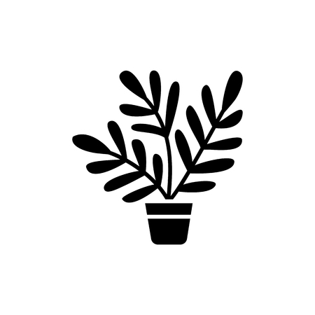 Black and white vector illustration of fern with leaves in pot. Decorative home plant in container. Flat icon of indoor green foliage plant for conservatory and terrarium. Isolated object on white background