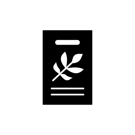 Black & white vector illustration of seed pack of green foliage houseplant. Flat icon of home plant seeds in paper packet with floral ornament from leaves. Isolated object on white background