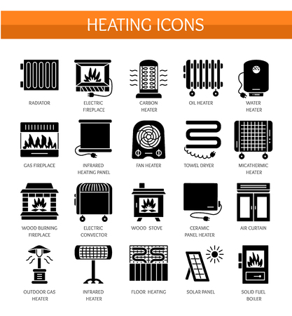 Vector flat icon set with radiator, convector and fireplace. Home heating equipment. Different gas, oil & electric heaters. Solar panel. Wood stove. Isolated objects on white background Stock Illustratie
