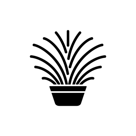 Black & white vector illustration of ornamental herb in pot. Decorative home plant in container. Flat icon of indoor green foliage plant. Isolated object on white background.