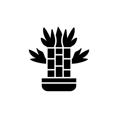 Black & white vector illustration of bamboo with leaves in pot. Decorative dracaena plant in container. Flat icon of indoor green foliage plant. Isolated object on white background