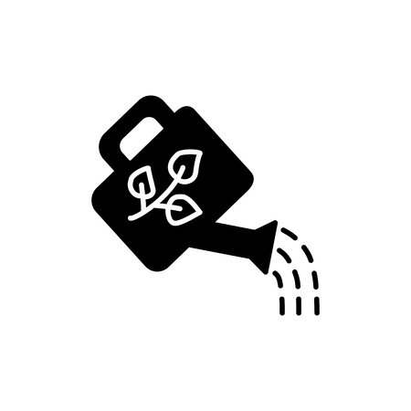 Black & white vector illustration of watering can with floral ornament from leaves. Watering pot for home plants. Flat icon of garden tool. Isolated object on white background  イラスト・ベクター素材