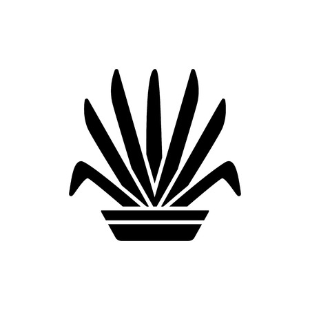Black & white vector illustration of ornamental herb in pot. Decorative home plant in container. Flat icon of indoor green foliage plant. Isolated object on white background Ilustração