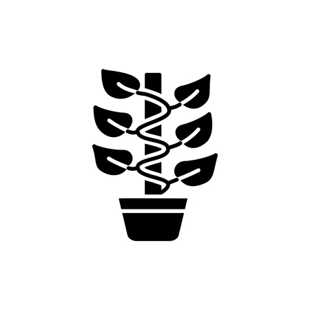 Black & white vector illustration of climbing plant with leaves & stick cane in pot. Flat icon of decorative climber home plant in container. Isolated object on white background