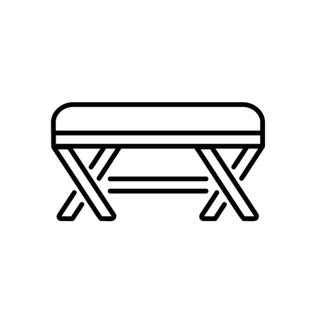 Upholstered wooden bench. Entryway patio furniture. Vector line icon. Isolated object Illustration