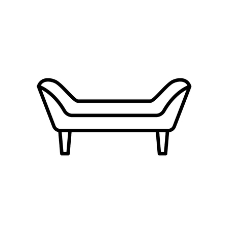 Upholstered couch seat. Entryway patio furniture. Vector line icon. Isolated object