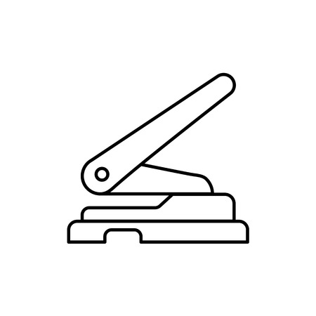 Black & white vector illustration of hole punch. Line icon of office paper puncher. Isolated object on white background
