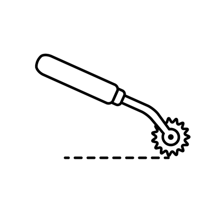 Black & white illustration of sewing pattern tracer to transfer markings. Vector line icon of tracing wheel. Isolated object on white background