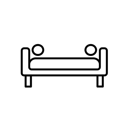 Upholstered couch with round pillows. Entryway patio furniture. Vector line icon. Isolated object