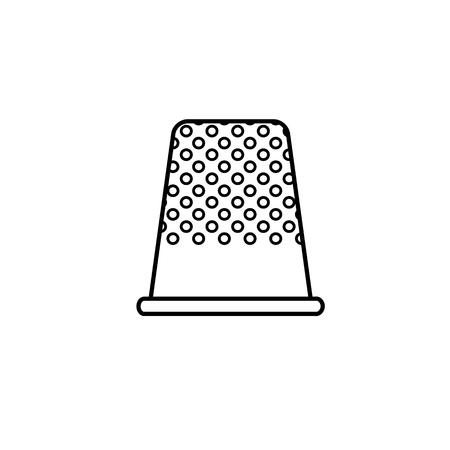 Schwarz-Weiß-Darstellung des Nähens Fingerhut. Vektorliniensymbol des Fingerspitzenschutzes aus Metall. Isoliertes Objekt auf weißem Hintergrund