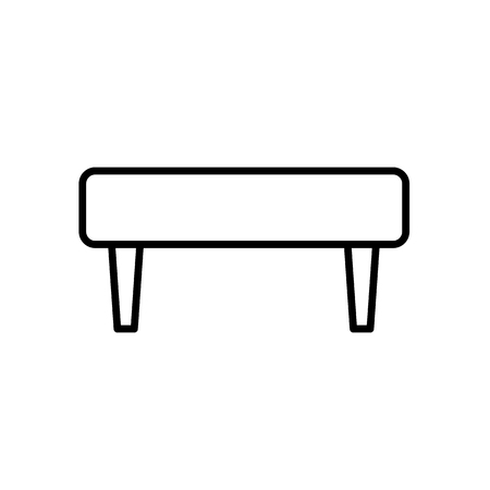 Upholstered simple ottoman settee. Entryway patio furniture. Vector line icon. Isolated object