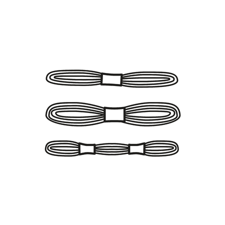 Black & white vector illustration of embroidery needlework thread skein. Line icon of cross stitch floss. Isolated object on white background 일러스트
