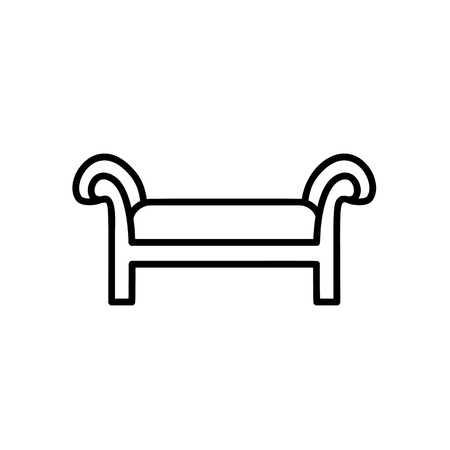 Upholstered ottoman settee. Entryway patio furniture. Vector line icon. Isolated object Illustration