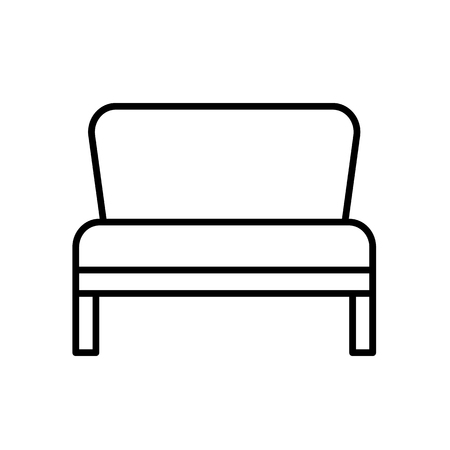 Upholstered bench. Entryway patio furniture. Vector line icon. Isolated object