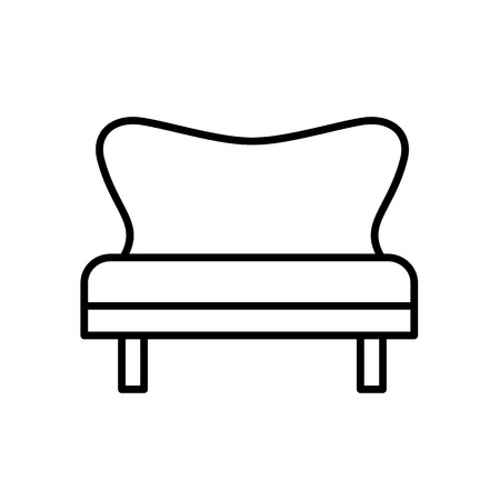 Upholstered vintage bench settee. Entryway patio furniture. Vector line icon. Isolated object Illustration