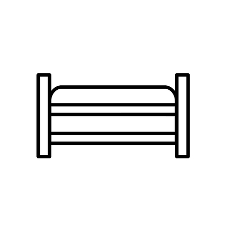 Upholstered storage wooden bench. Entryway patio furniture. Vector line icon. Isolated object Stock Vector - 126959291