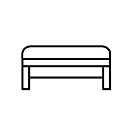 Upholstered bench. Entryway patio furniture. Vector line icon. Isolated object Illustration