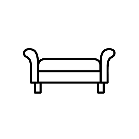 Upholstered bench seat. Entryway patio furniture. Vector line icon. Isolated object