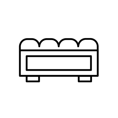 Upholstered storage leather bench. Entryway patio furniture. Vector line icon. Isolated object