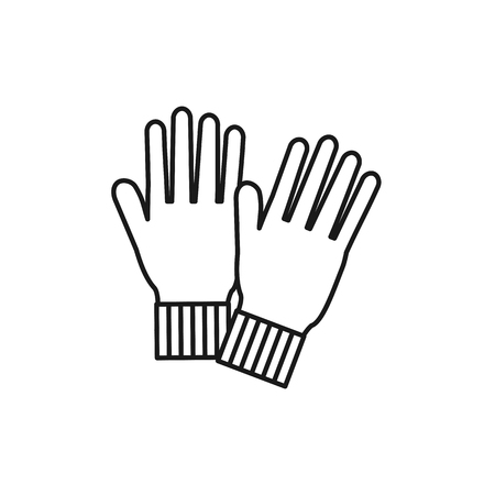 Black & white illustration of knitted warm mittens gloves. Vector line icon of winter handmade clothes. Isolated object on white background Illustration