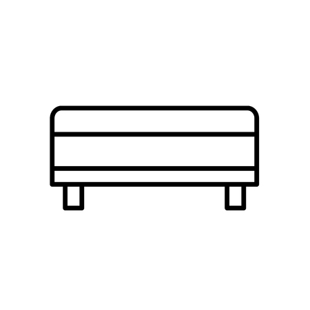 Upholstered storage bench. Entryway patio furniture. Vector line icon. Isolated object Illustration