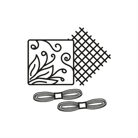 Black & white vector illustration of embroidery needlework kit with thread, fabric, pattern. Line icon of cross stitch beginner set. Isolated object on white background Vectores