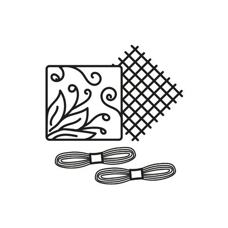 Schwarz-Weiß-Vektor-Illustration von Stickhandarbeitsset mit Faden, Stoff, Muster. Liniensymbol des Kreuzstich-Anfängersets. Isoliertes Objekt auf weißem Hintergrund Vektorgrafik