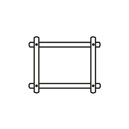 Black & white vector illustration of embroidery tapestry frame. Line icon of needlework cross stitch holder. Isolated object on white background