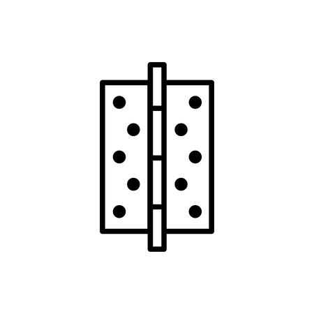 Black & white illustration of door hinge. Vector line icon. Isolated object on white background Vectores