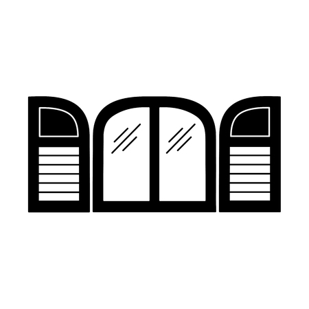 Black & white illustration of old arch window shutter. Vector flat icon of wooden vintage outdoor jalousie. Isolated object on white background