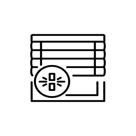 Black & white vector illustration of venetian wood curtain shutter. Line icon of window horizontal wooden jalousie. Isolated object on white background Ilustrace