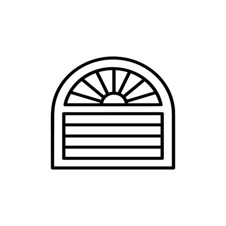 Schwarz-Weiß-Vektor-Illustration des venezianischen Vorhangs. Liniensymbol der horizontalen Jalousie des Bogenfensters. Isoliertes Objekt auf weißem Hintergrund Vektorgrafik