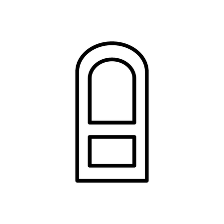 Black & white illustration of closed wooden panel arch door. Vector line icon. Isolated object on white background