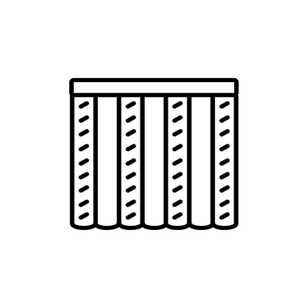 Black & white vector illustration of combi curtain shutter. Line icon of window vertical blind jalousie. Isolated object on white background